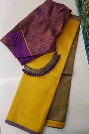 Mustard and brown half half kanchi silk sari