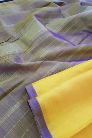 Mustard and brown half half kanchi silk sari5