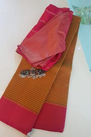 Mustard and green checks with peach border