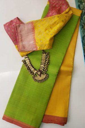 Mustard and green half half kanchi silk sari