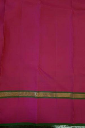 Mustard kanchipuram silk saree with peach border2