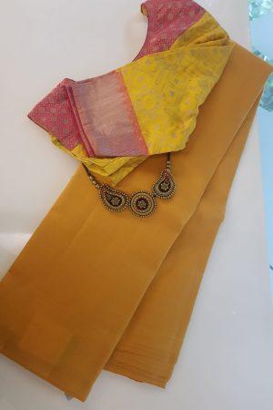 Mustard lavanyam plain kanchi silk saree