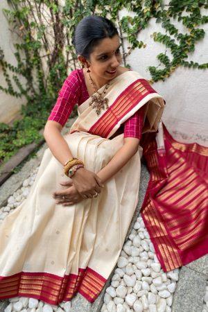 Off white and arakku korvai border saree