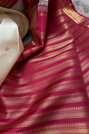 Off white and arakku korvai border saree1