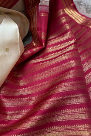 Off white and arakku korvai border saree1