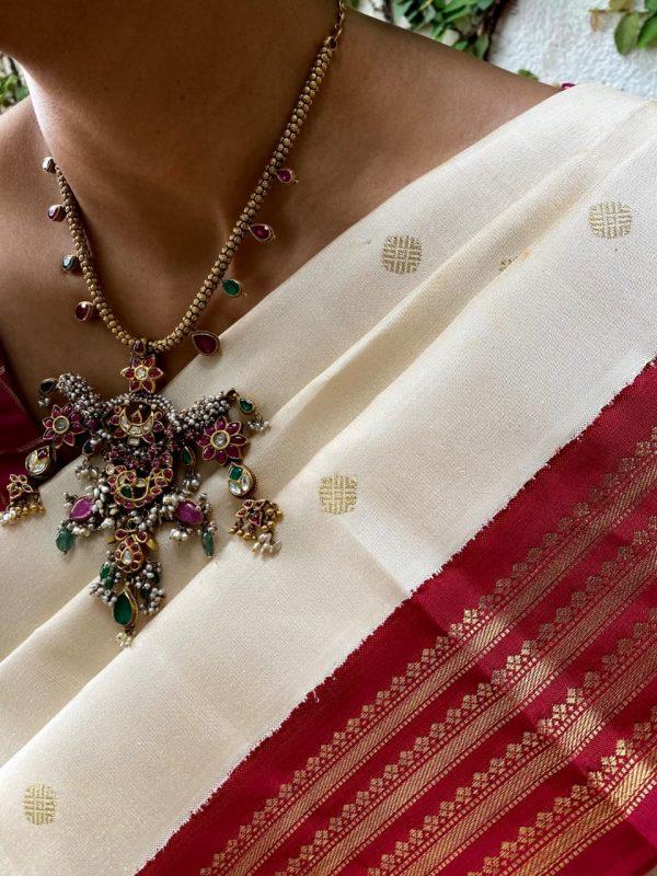Off white and arakku korvai border saree2
