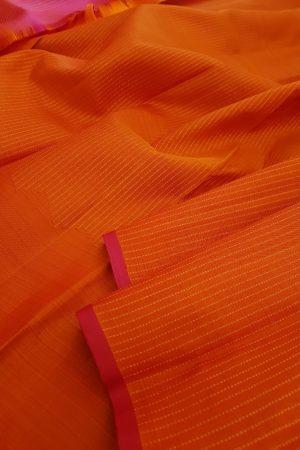 Orange rising border silk saree1