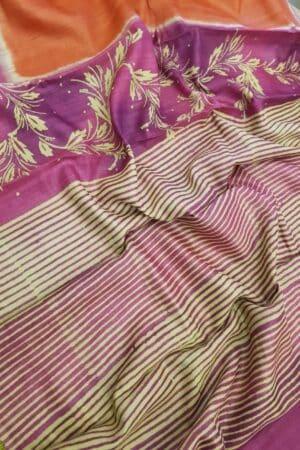 Orange with pink border tussar saree