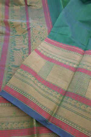 Peacock green kanchi cotton saree with long border2