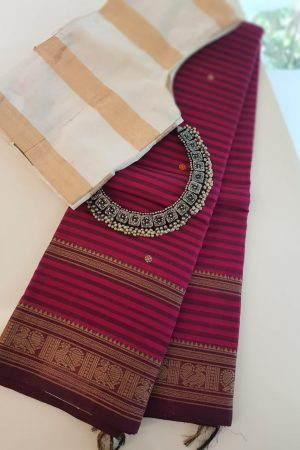 Pink and wine horizontal stripes kanchi cotton saree