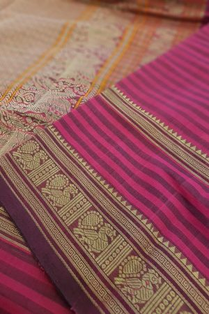 Pink and wine horizontal stripes kanchi cotton saree2