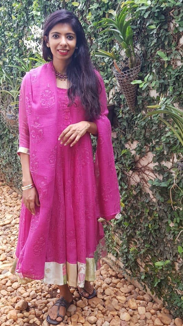 Pink embroidered chanderi kurta1