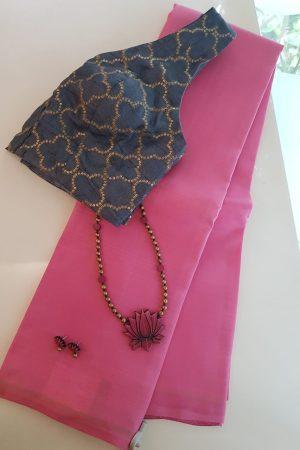Pink lavanyam plain kanchi silk sari
