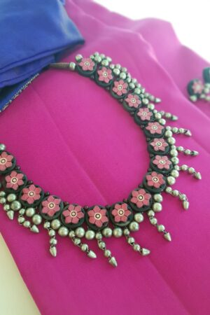 Pink terracotta necklace with silver beads