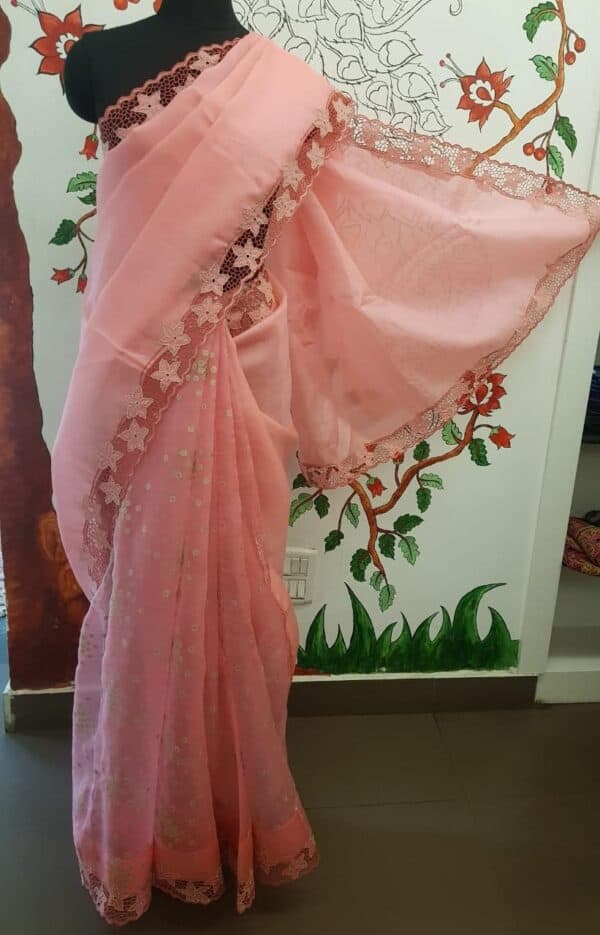 Pinkish peach organza and embroidered cutwork saree2