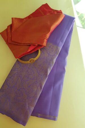 Purple kanchipuram silk sari 1