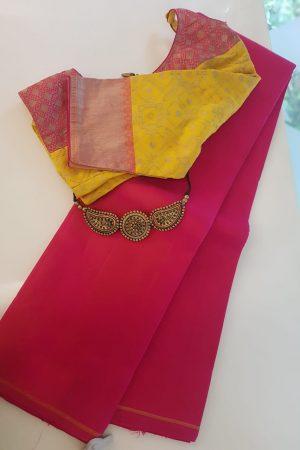 Rani pink lavantam plain kanchi silk saree