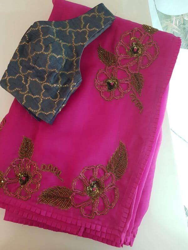 Rani pink organza saree