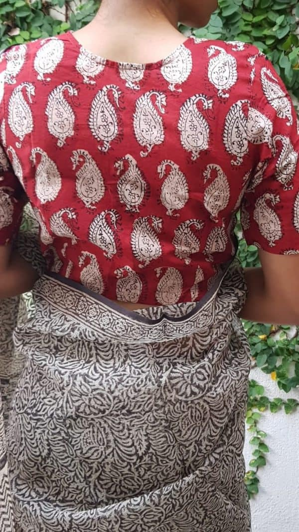 Red and beige paisley printed blouse