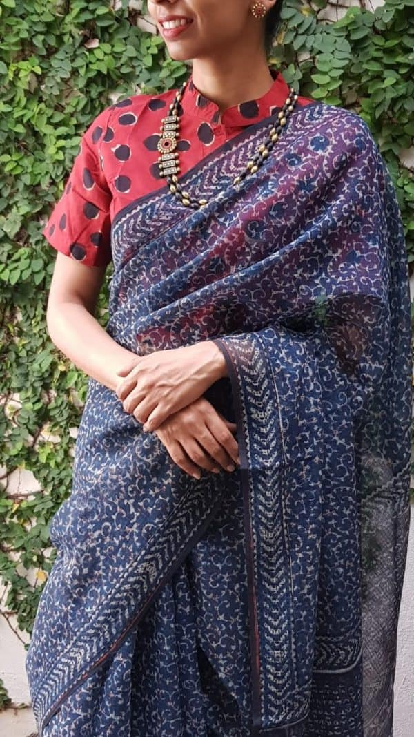 Indigo blue block printed kota saree