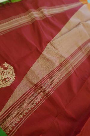 Red kanchi cotton saree with ganga jamuna border1