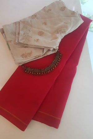 Red lavanyam plain kanchi silk sari