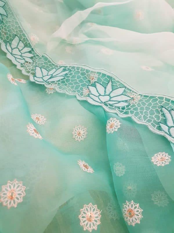 Sea green organza and embroidered cutwork saree