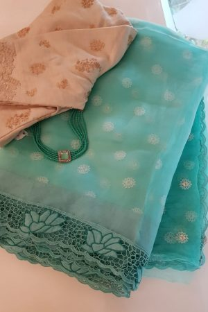 Sea green organza and embroidered cutwork saree1