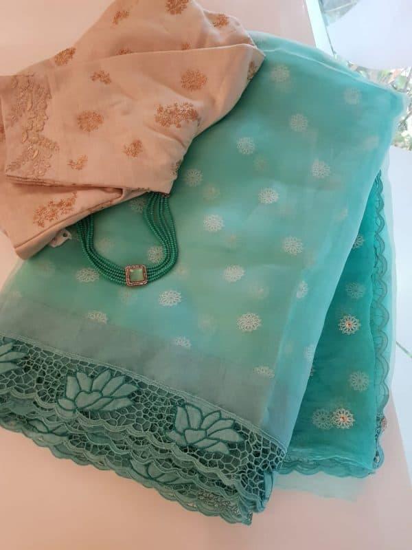 Sea green organza and embroidered cutwork saree1