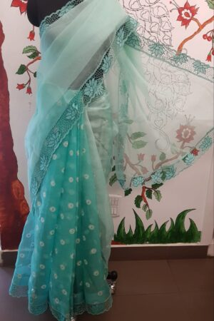 Sea green organza and embroidered cutwork saree2