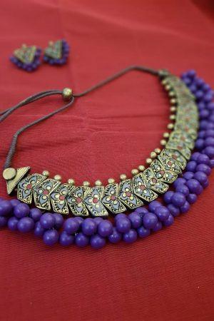 Terracotta choker with purple beads