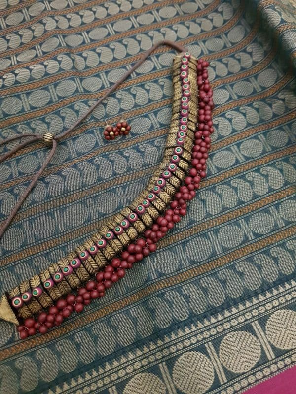 Terracotta choker with red beads