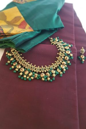 Terracotta jewellery Gold and green