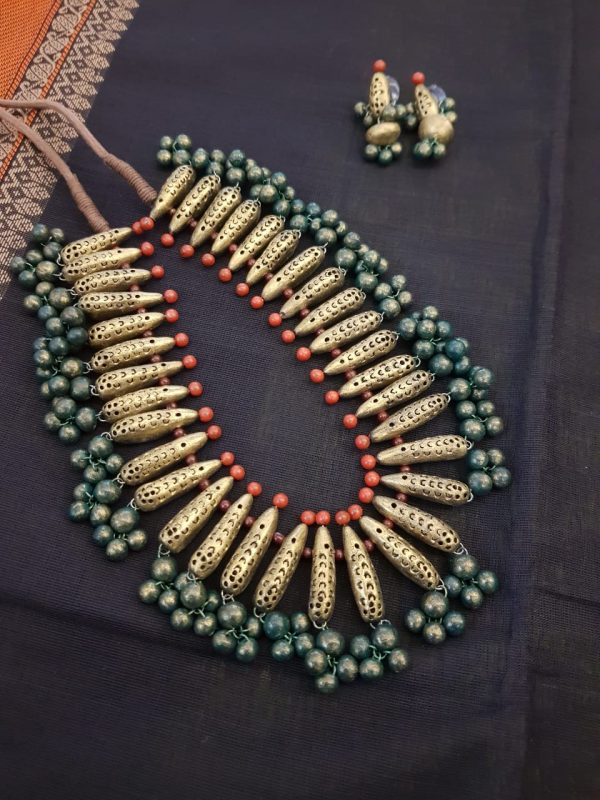 Terracotta necklace in gold green and orange