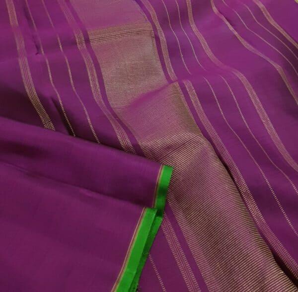 Violet and green half and half kanchipuram silk saree1