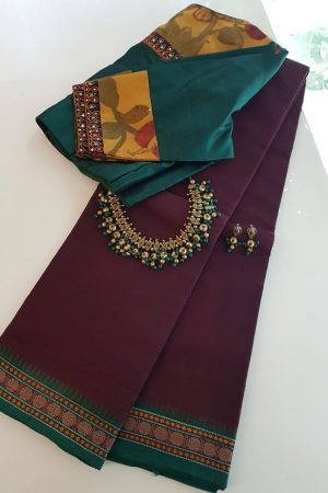 Wine kanchi cotton saree