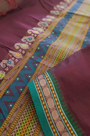 Wine kanchi cotton saree1