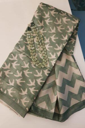 green and beige block printed tussar saree