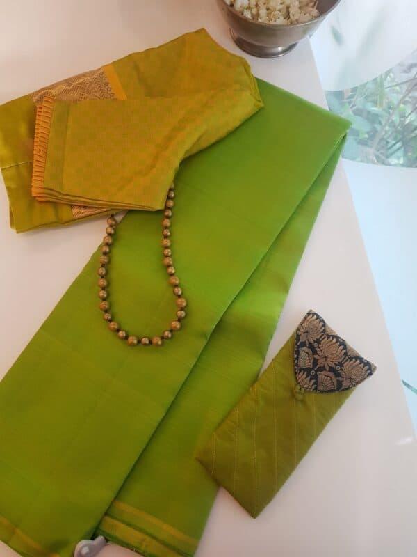 lime green kanchi silk saree lavanyam