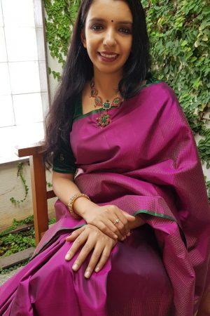 majenta rising border saree