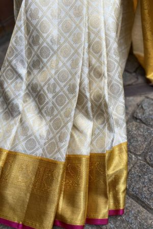 off white with yellow korvai borderkanchipuram silk saree1