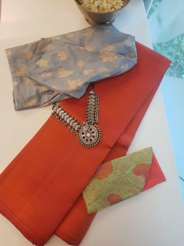 orange lavanayam kanchi silk saree