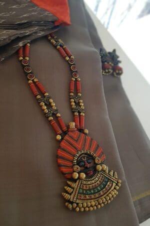 orange terracotta set with pendant