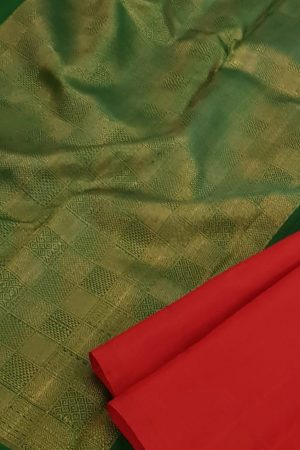 Arakku kanchipuram silk saree with green pallu and blouse
