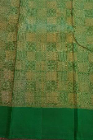 Araku kanchipuram silk saree with green pallu and blouse1
