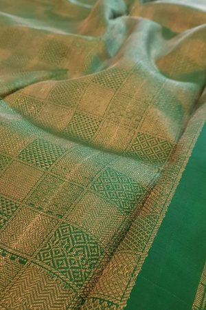 Araku kanchipuram silk saree with green pallu and blouse2