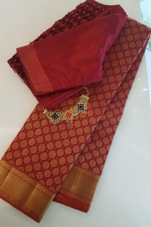 Arakku kanchipuram silk saree with brocade body