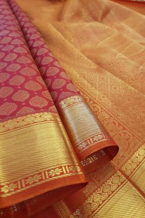Arakku kanchipuram silk saree with brocade body1