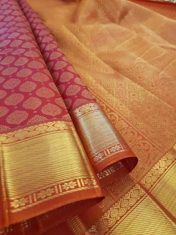 Arakku kanchipuram silk saree with brocade body1