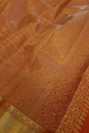 Arakku kanchipuram silk saree with brocade body3